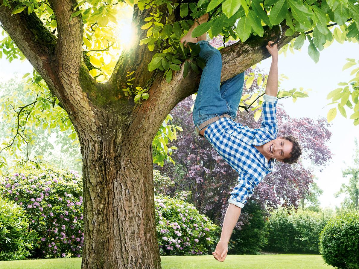 Mann hängt glücklich im gesunden Baum